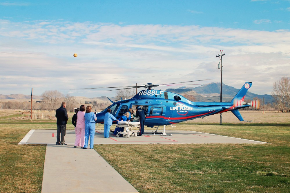 Hospital Helicopter unloading patient